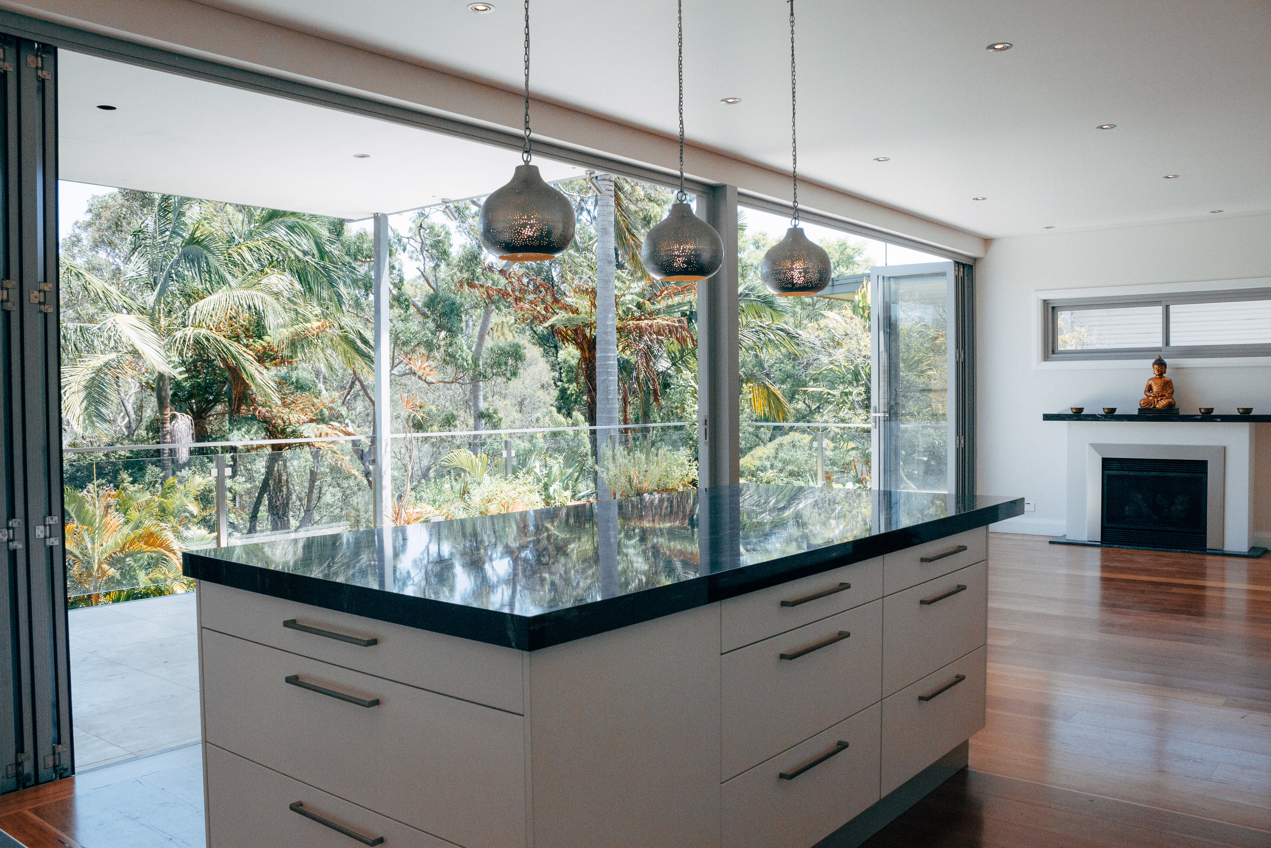KITCHEN AND OUTDOOR LIVING OF MAJOR RESIDENTIAL RENOVATION FOR MINDFUL BUILDING - 2013, EAST RYDE, NSW
