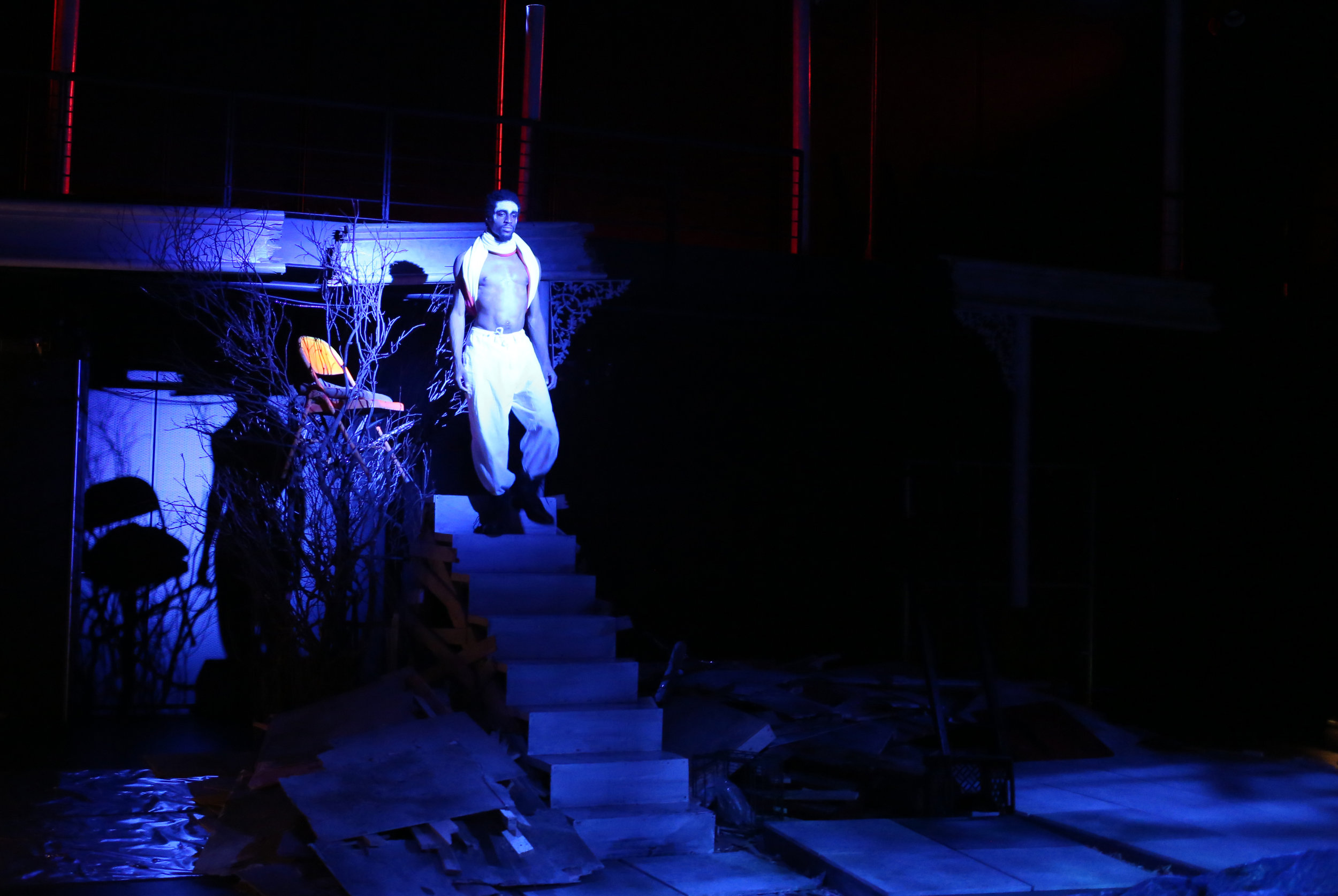 THE TEMPEST   by WIlliam Shakespeare    Dir. Njideka Agwuna | Lenfest Center for the Arts - Flexible Performance Space  Scenic Design by Andrew D. Moerdyk | Costume Design by Avery Reed | Lighting Design by Eric Norbury & Ethan Olsen  photography by Rob Strong