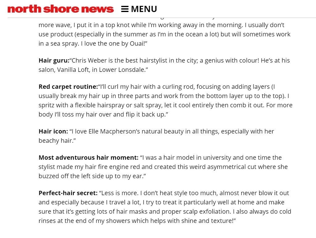 """north Shore News - """"North Shore Personalities spill their hair secrets"""""""