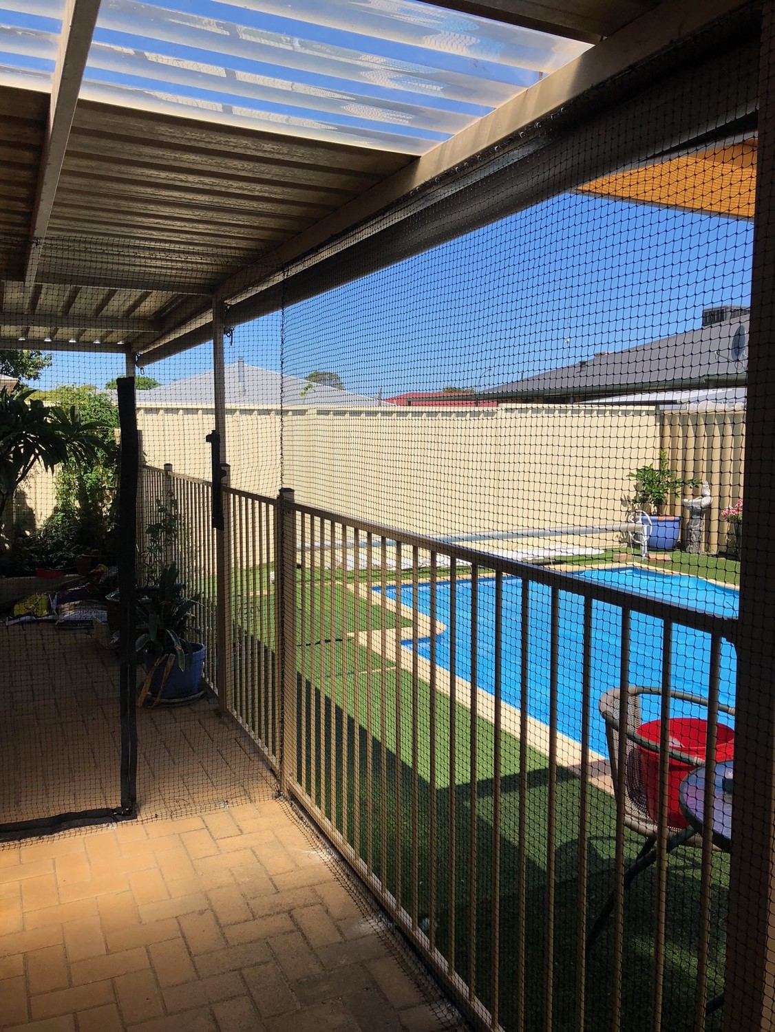 - Pergolas and verandahs can be enclosed to allow cats and other pets into these areas but prevented from exiting to the backyard.