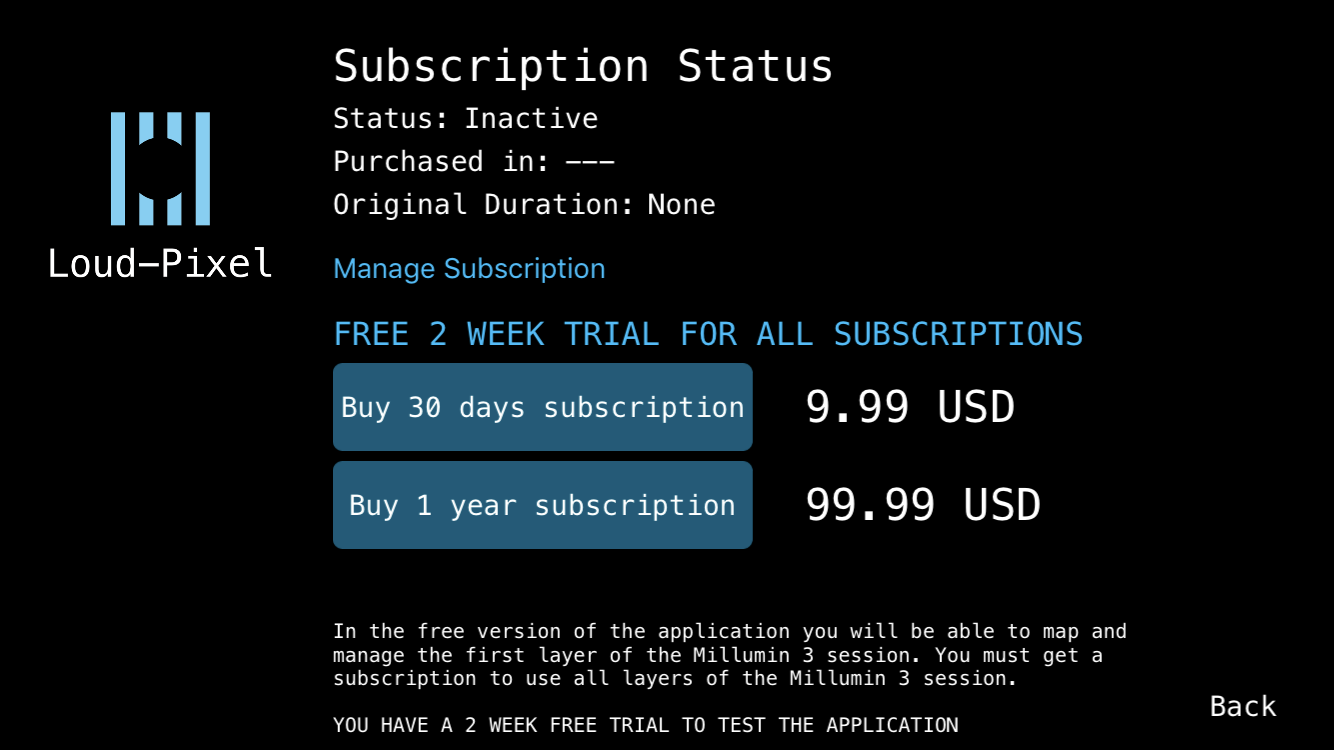 Subscription - In this page you can acquire or cancel your subscription plan at any time. The Manage Subscription button will transfer you directly to your corresponding App Store (Apple Store or Google Play) to manage your subscription.