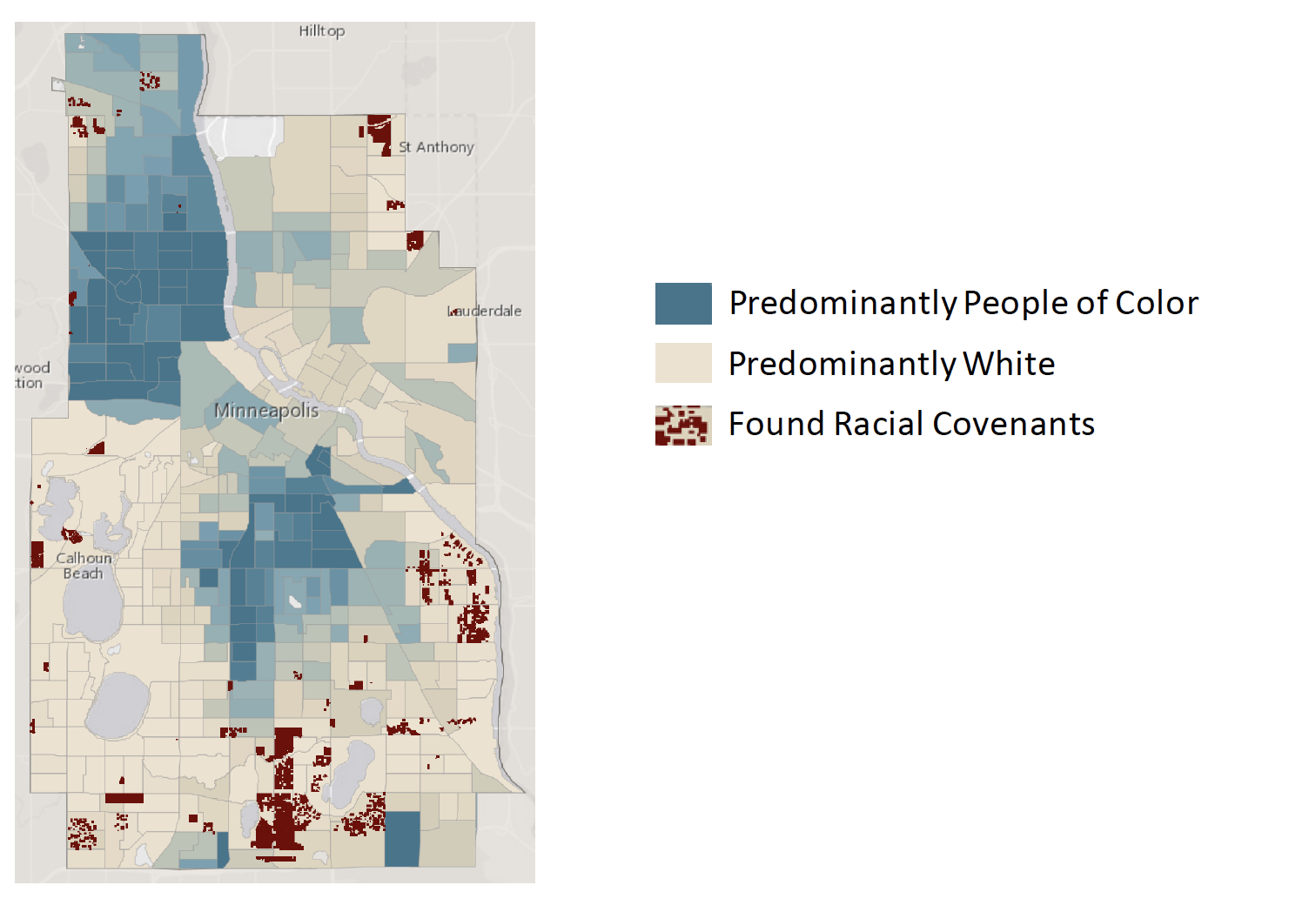A map of Minneapolis shows that the city's history of racial segregation persists today.  Photo courtesy of Andrea Brennan