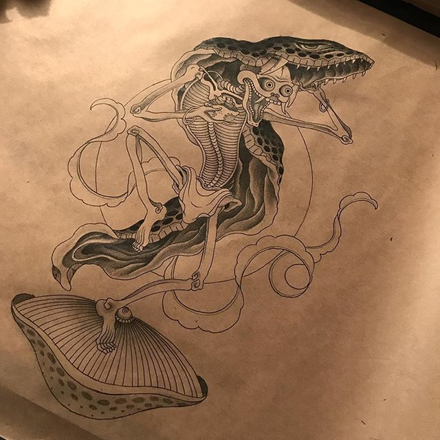 Keen to tattoo this skeleton and snake skin. Dm or email jarrodroche@hotmail.com if your interested. Cheers