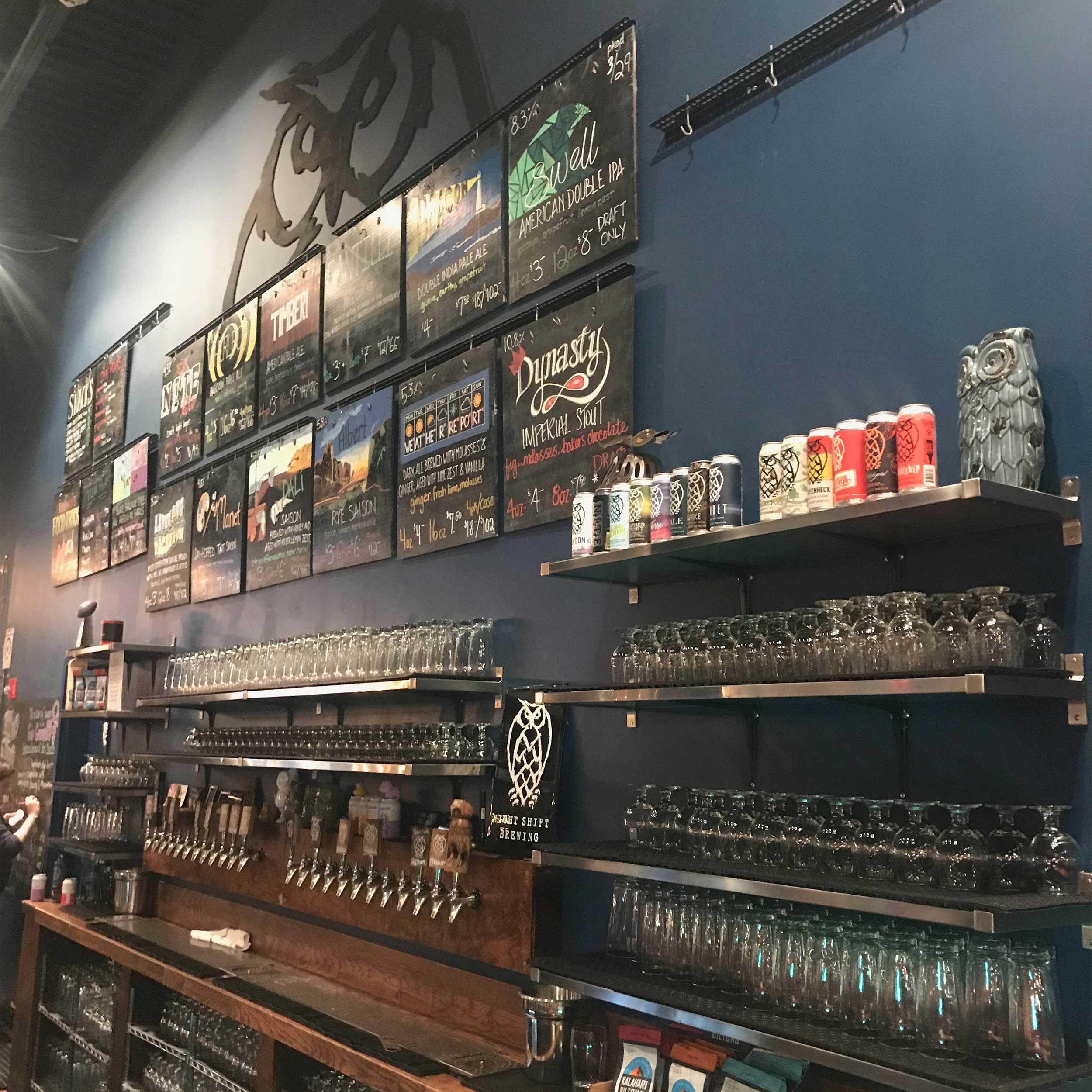 The bar at Night Shift Brewing.
