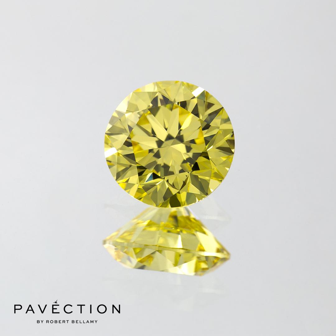 1.52 Natural Fancy Intense Yellow Internally Flawless Round Brilliant Cut Diamond