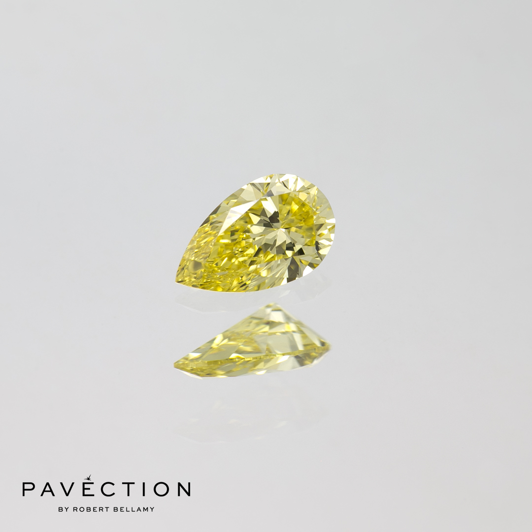 0.24ct Natural Fancy Intense Yellow IF Pear Cut Diamond