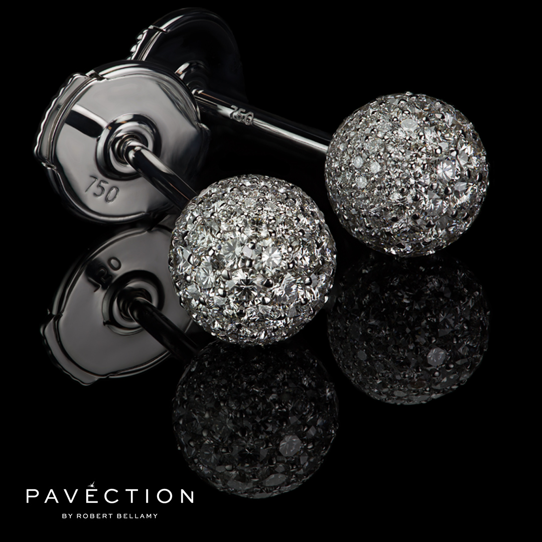 Pavection Diamond Stud Ball Earrings 18ct white Brisbane