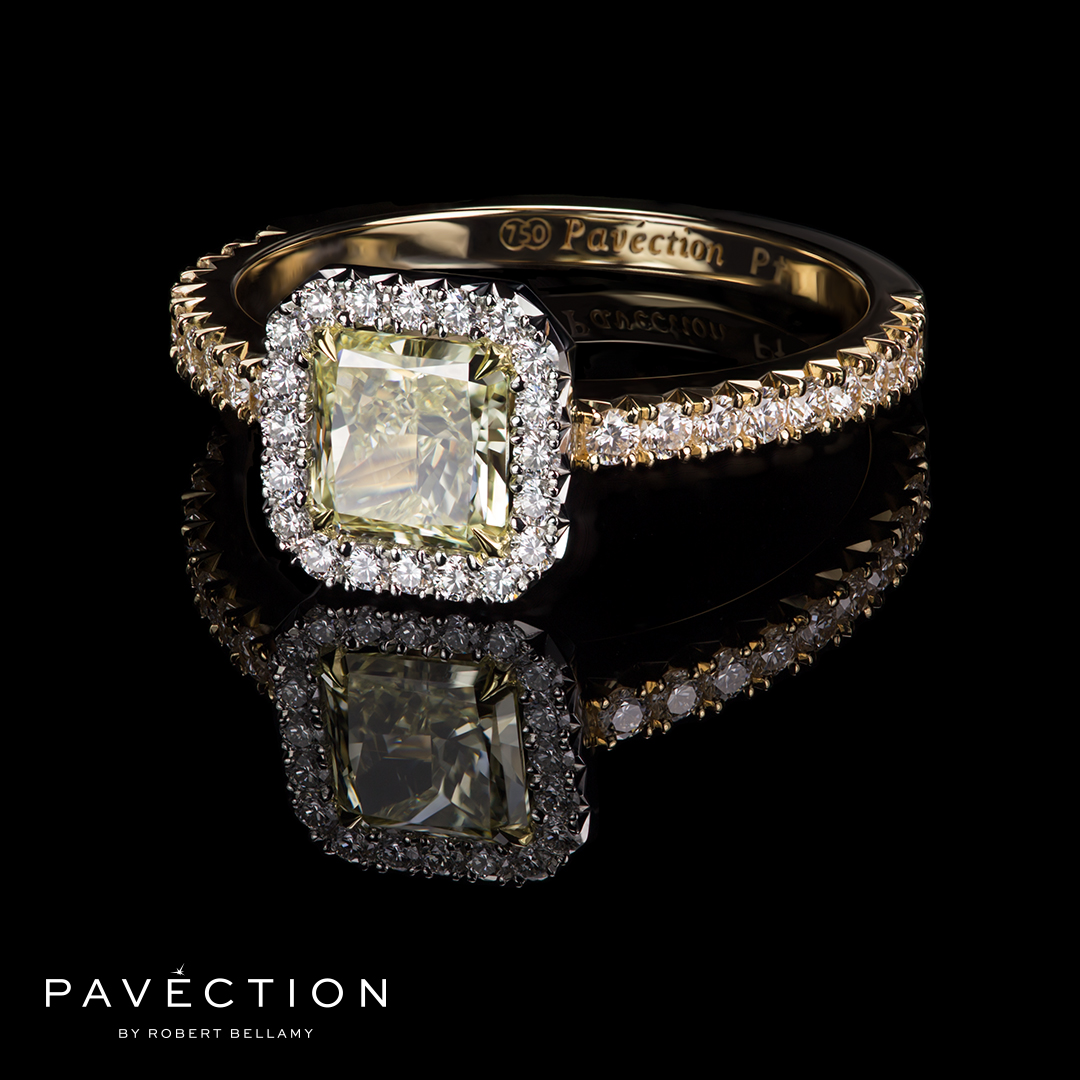 Pavection Yellow and White Diamond Ring in 18ct white and yellow gold Brisbane