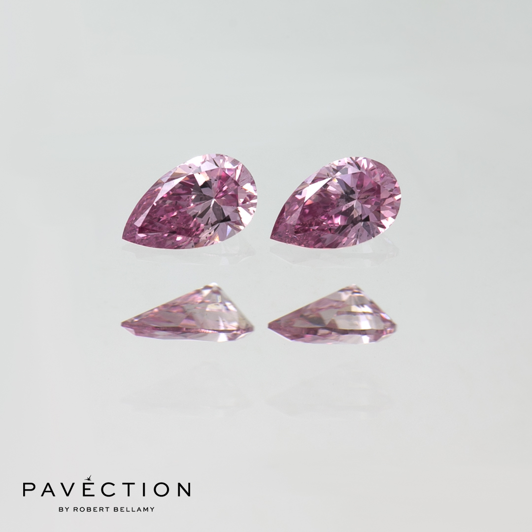 2 x 0 carat 8 point 16 point total 5pp Si1 pink Pear cut argyle diamonds Pavection robert bellamy brisbane city designer jewellery jewelry jewellers jewelers custom made.jpg