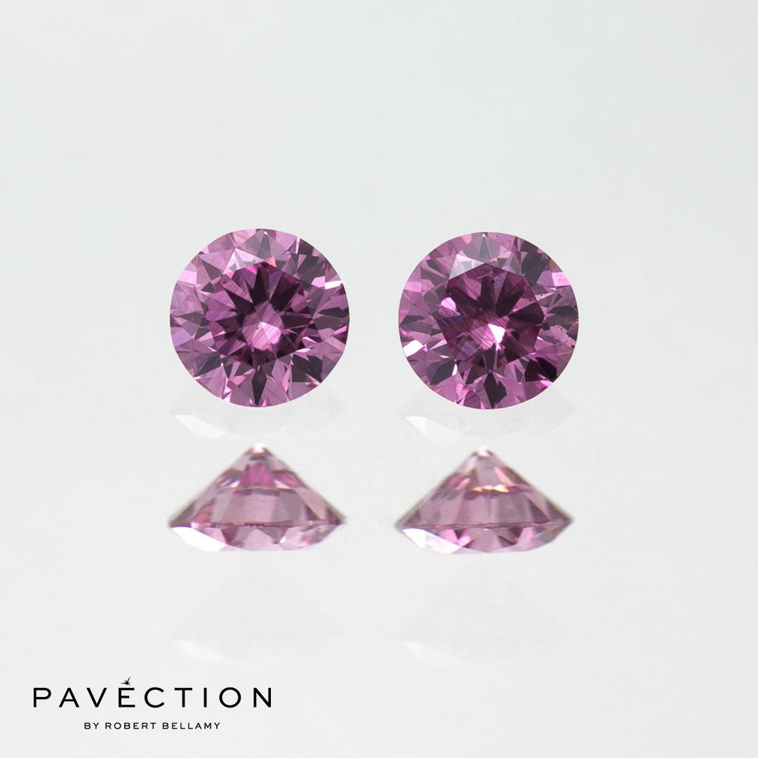 2 x 0 carat 13 point 4pp si1 round brilliant cut pink argyle diamonds total 26  Pavection robert bellamy brisbane city designer jewellery jewelry jewellers jewelers custom made.jpg