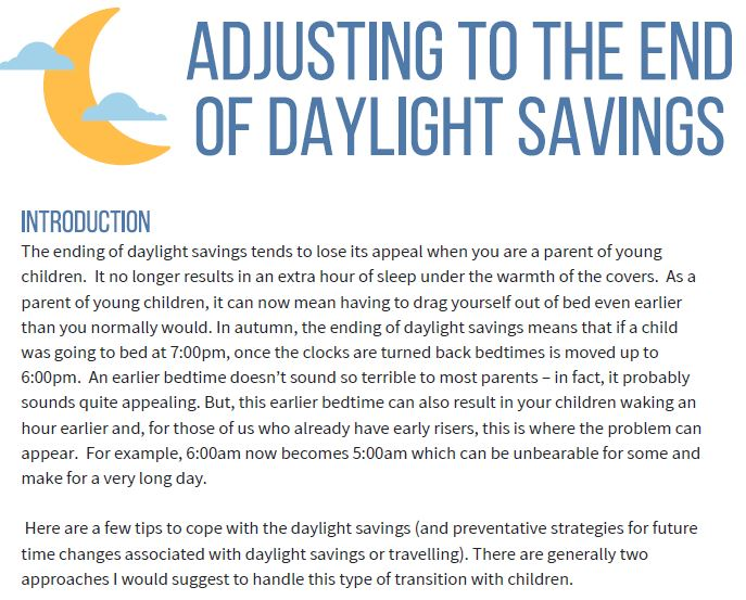 Adjusting to the end of daylight savings