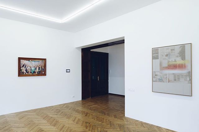 "From left to right: ""Blēņu stāsti"" by Auseklis Baušķenieks, ""All eyes on me"" by Gery Georgieva and ""Collation"" by Inga Meldere. Gallery opens tomorrow."