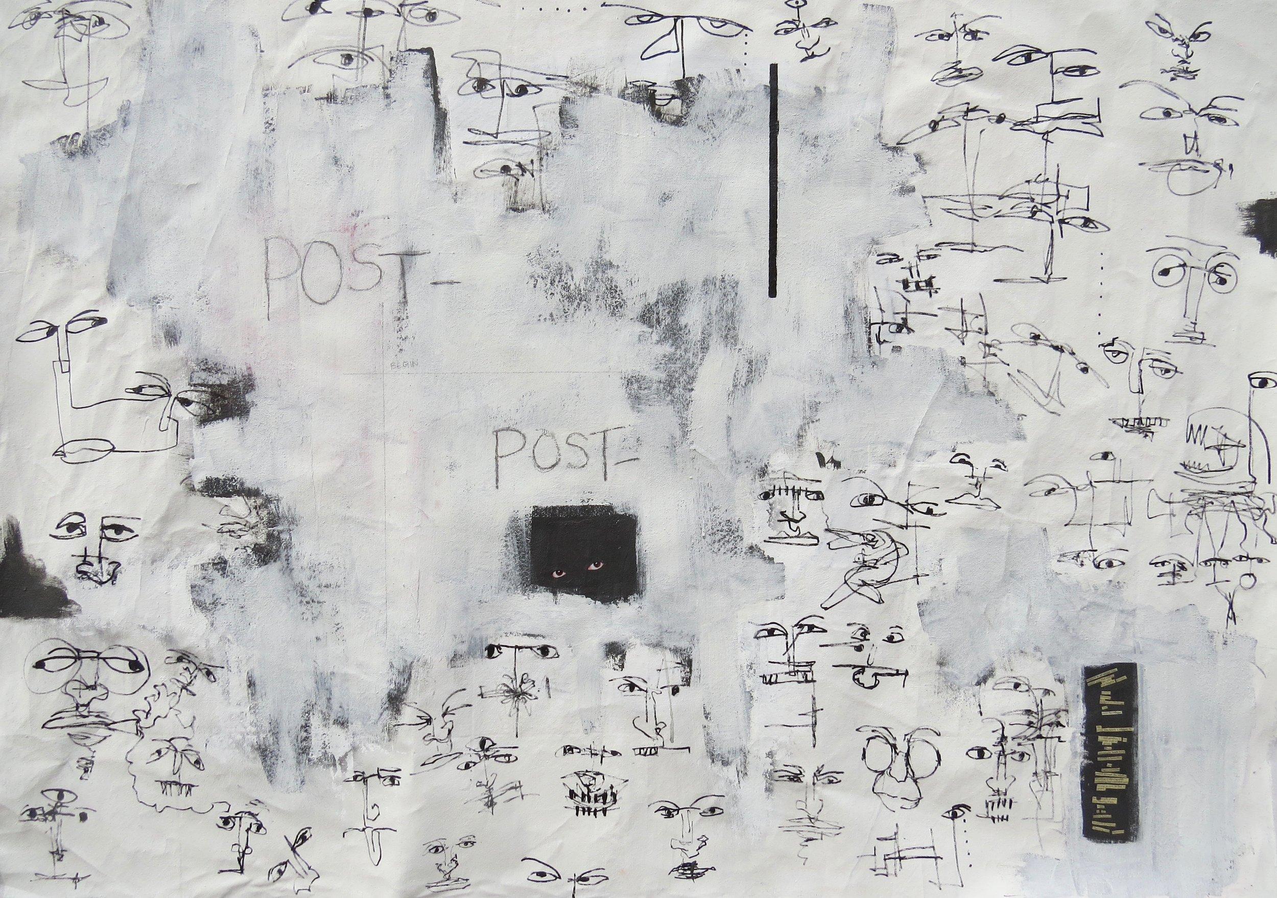 post-,  6' x 4', acylic, paper on canvas - 2017