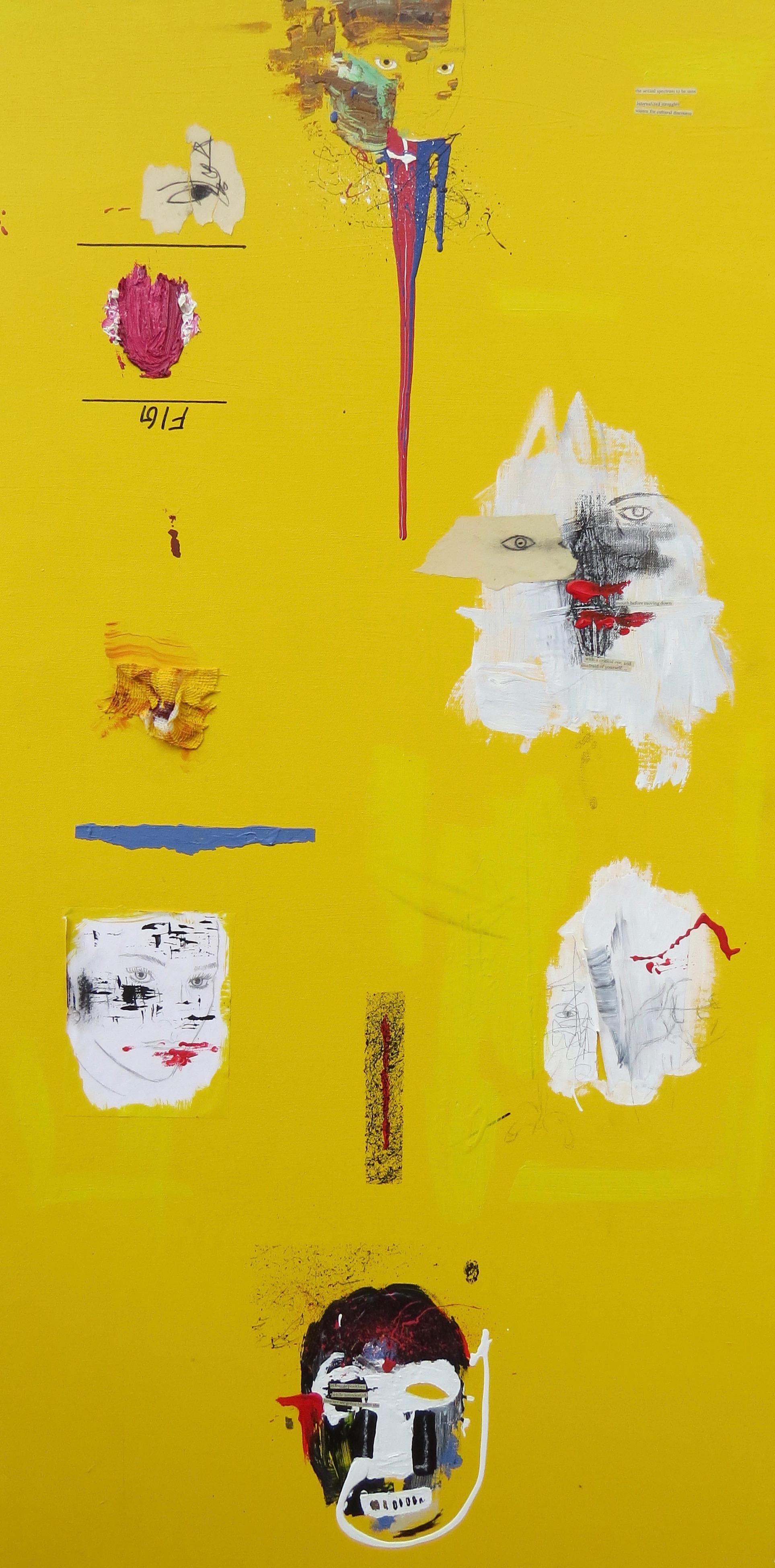 manifest/blue , 2' x 4', mixed media on canvas - 2015