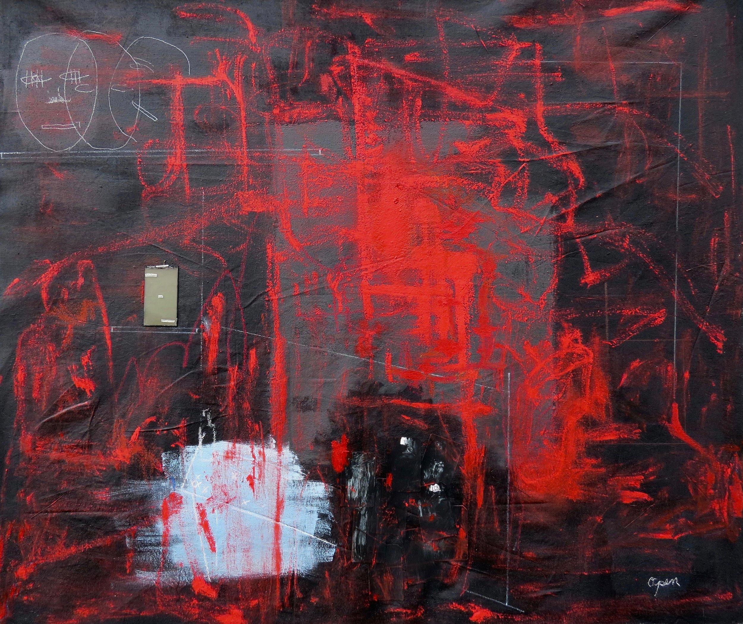 "presence,  4'5"" x 3'7"", mixed media on canvas - 2019"