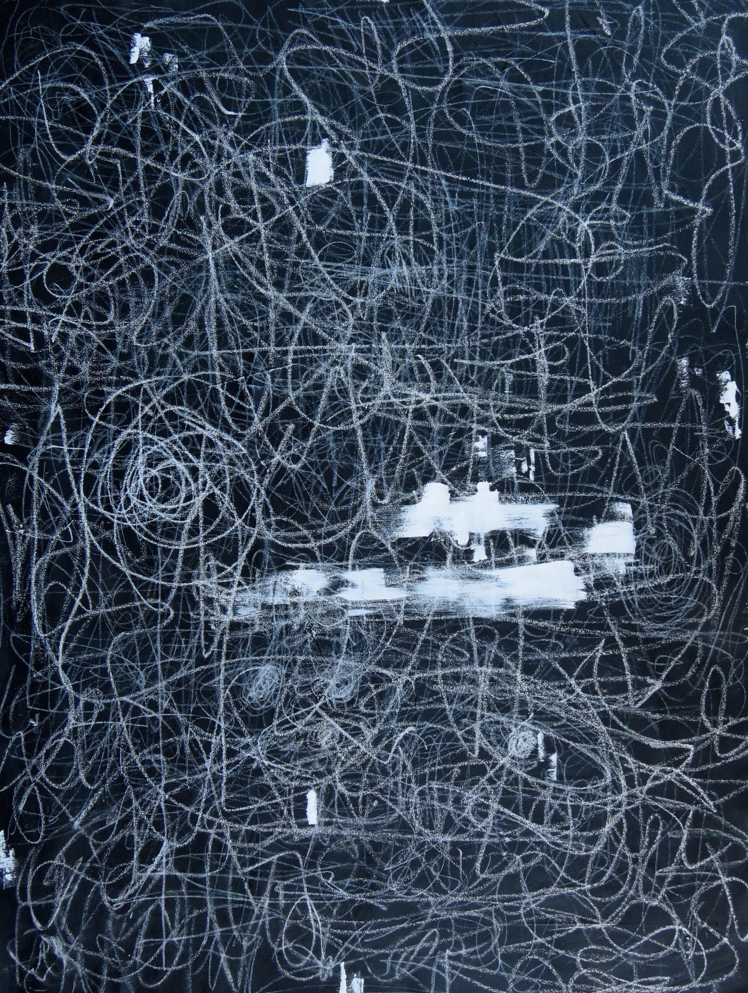 post-pivots , 2019, 6' x 4', chalk, oil paint stick, acrylic paint on canvas