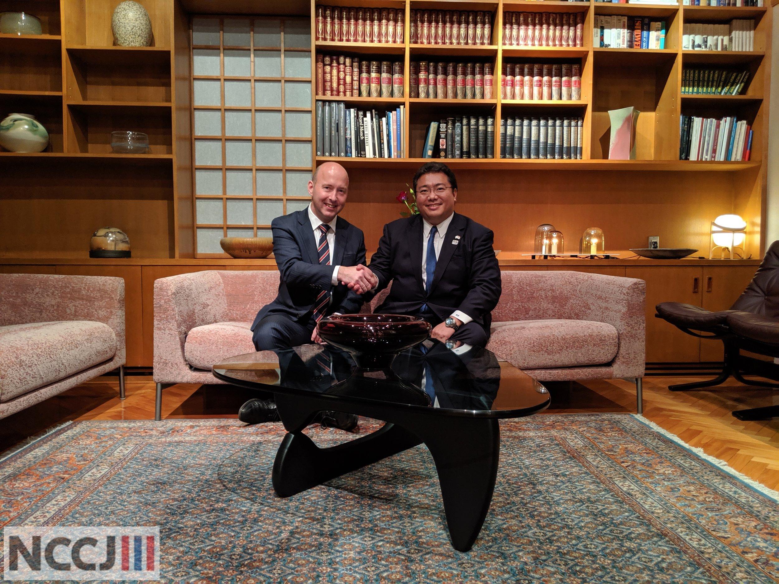 The new NCCJ President, Mr. Svend Haakon Kristensen (President and Representative Director, Laerdal Medical Japan), with former President Mr. Keita Koido (President of Lerøy Japan)