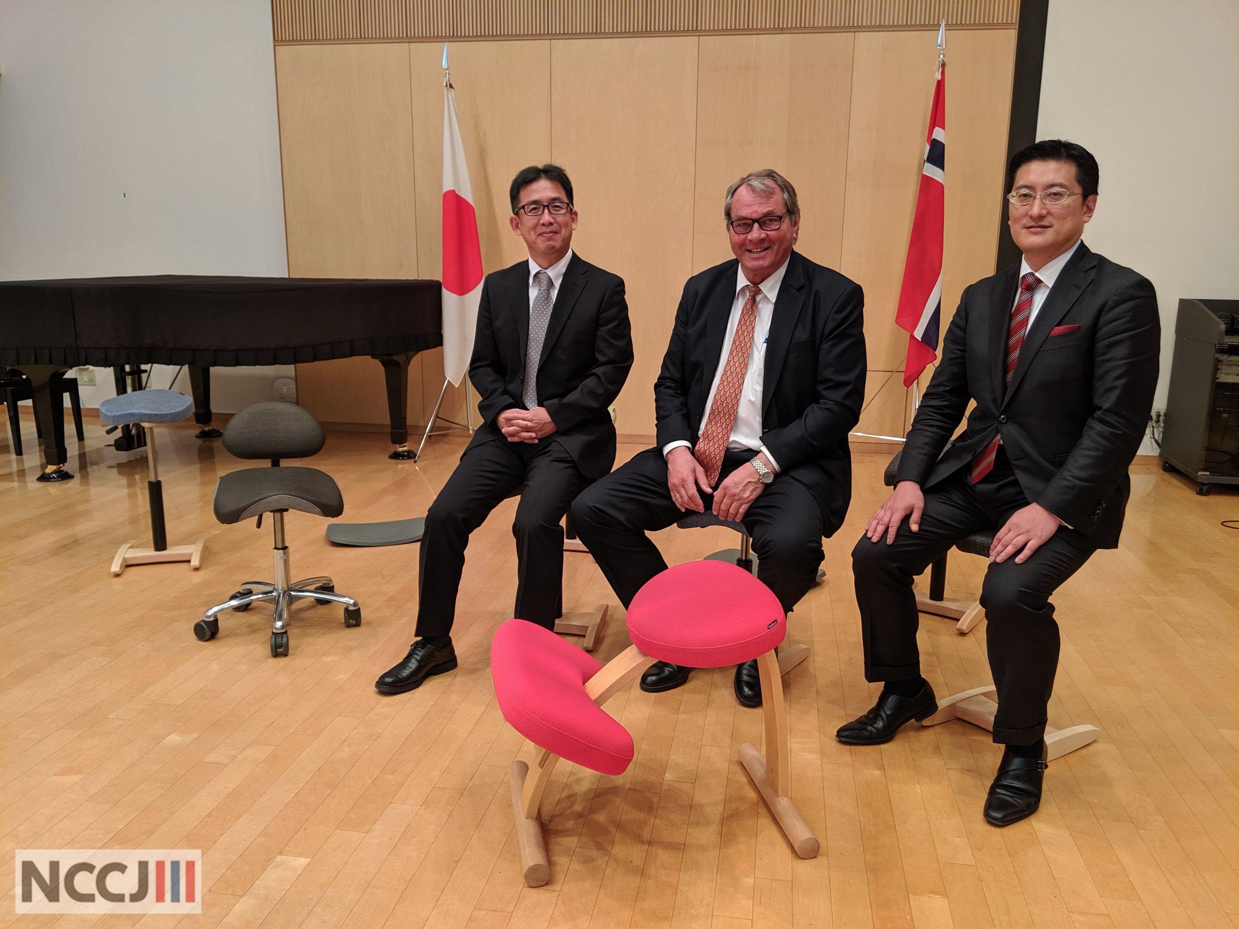 From left: Mr. Muraki Satoshi, Mr. Hans Christian Mengshoel and Mr. Tohji Sakamoto