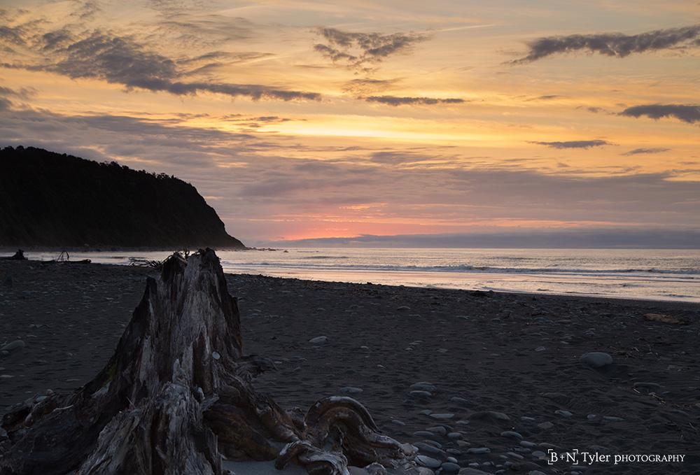 Sunset on Okarito beach