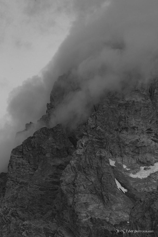 Clouds hugging the peak