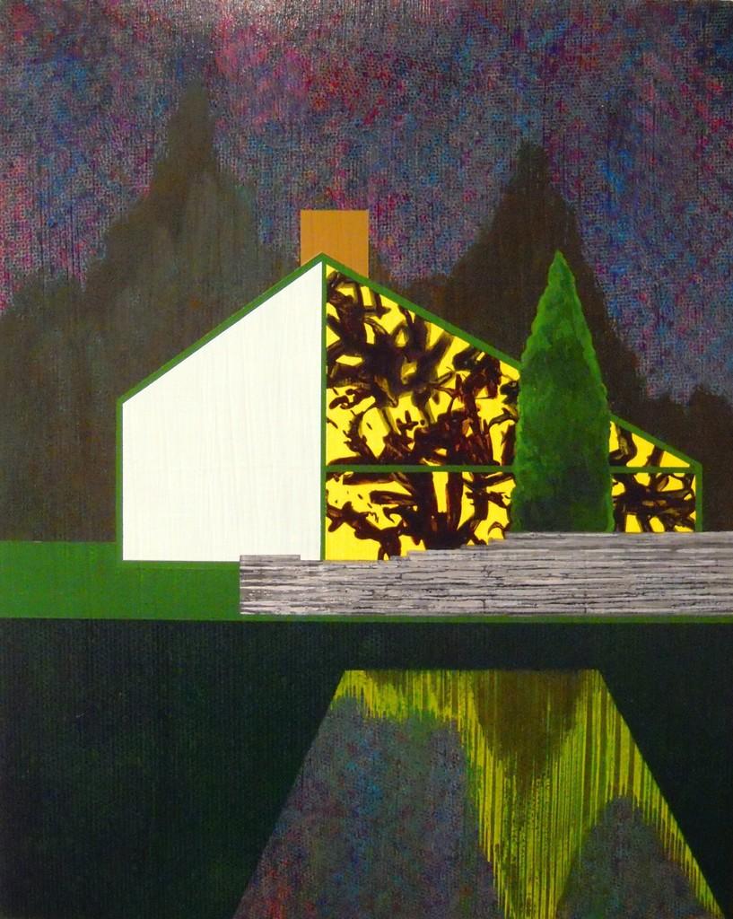"Sheer House  2010-2012  acrylic on panel  15""H x 12""W"