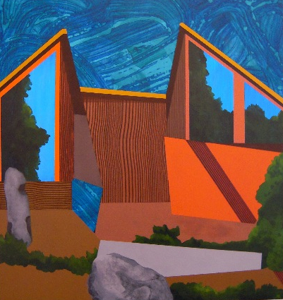 "Wedger  2009  acrylic on panel  21.75""H x 20.25""W"