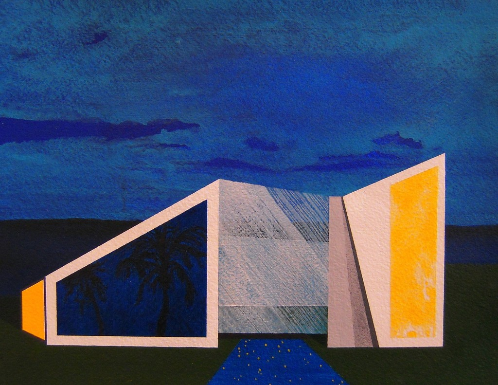"Blade House  2012  acrylic on paper  7""H x 9.375""W"