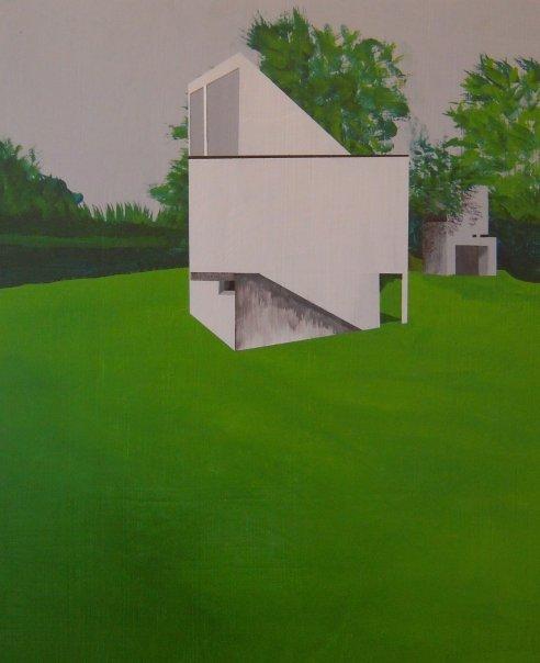 """Gwathmey House 1965  2008  acrylic on panel  15""""H x 12""""W"""