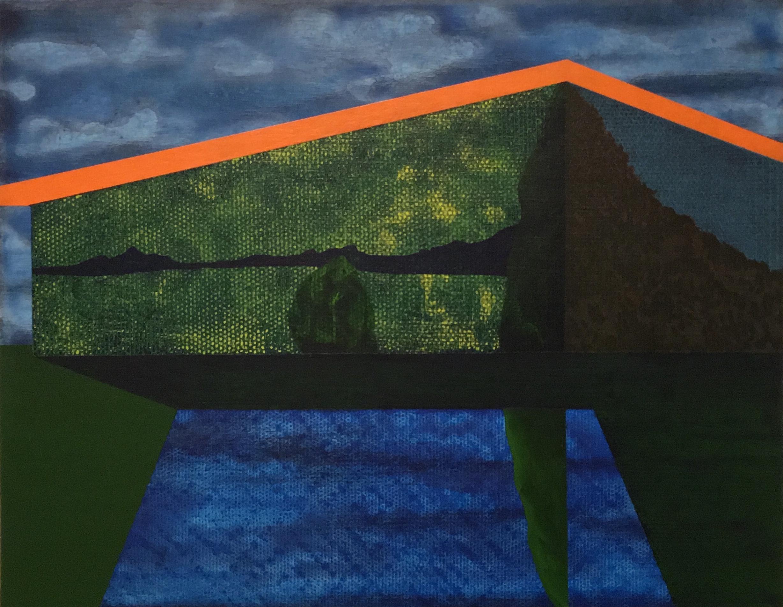 "Gardener  2012  acrylic on panel  11""H x 14""W"