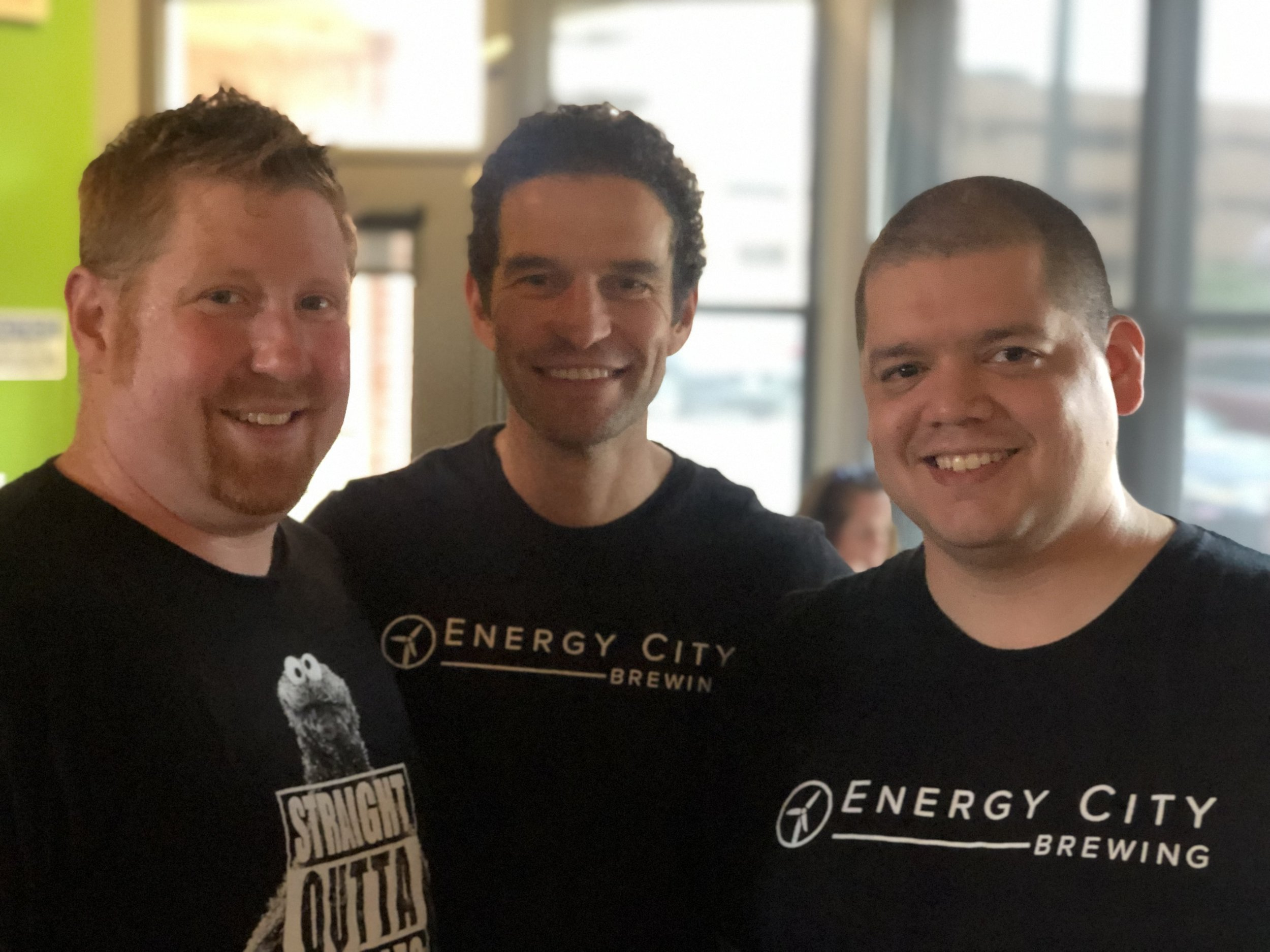 Dan Emerson, owner of Gillerson's (left). David Files, ECB Brewmaster (middle). Eric Diaz, ECB staff (right).