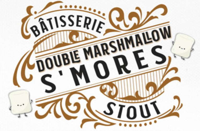 Bâtisserie Double Marshmallow S'mores Stout - Tastes like a perfectly roasted marshmallow, browned but not blackened, roasted slowly over the coals, not burnt in the fire. Super soft, fluffy mouthfeel. 10% ABV.