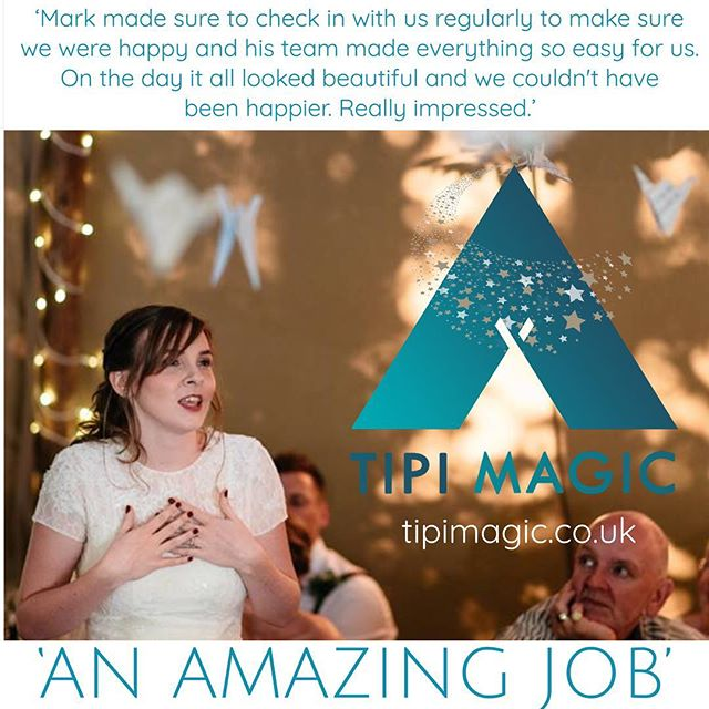"Thank you to Matthew Hovenden for these lovely words...""Tipi Magic did an incredible job providing a large Tipi for our wedding reception, as well as all the tables chairs flooring and organising toilets and a generator. Mark made sure to check in with us regularly to make sure we were happy with how things were going and his team made everything so easy for us, even staying around to make sure that other service providers such as toilets and the generator that they had organised for us left us in working order. On the day it all looked beautiful and we couldn't have been happier. 5 stars. We were really impressed and will definitely recommend tipi magic to friends and family in the future."" It was our pleasure, Matthew! Photograph by www.chris-seddon.co.uk #weddingsandevents #tipi #makingmagicalmemories #tipihire"