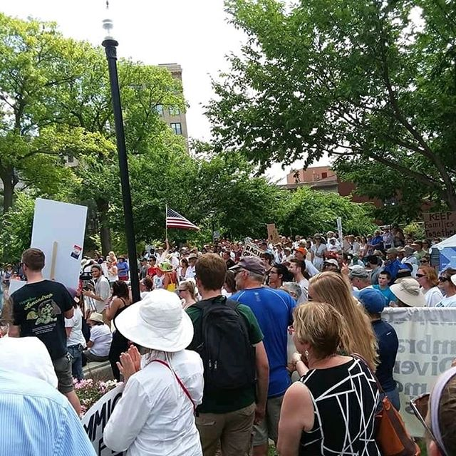 From Saturday's #familiesbelongtogether rally, downtown Madison, WI.