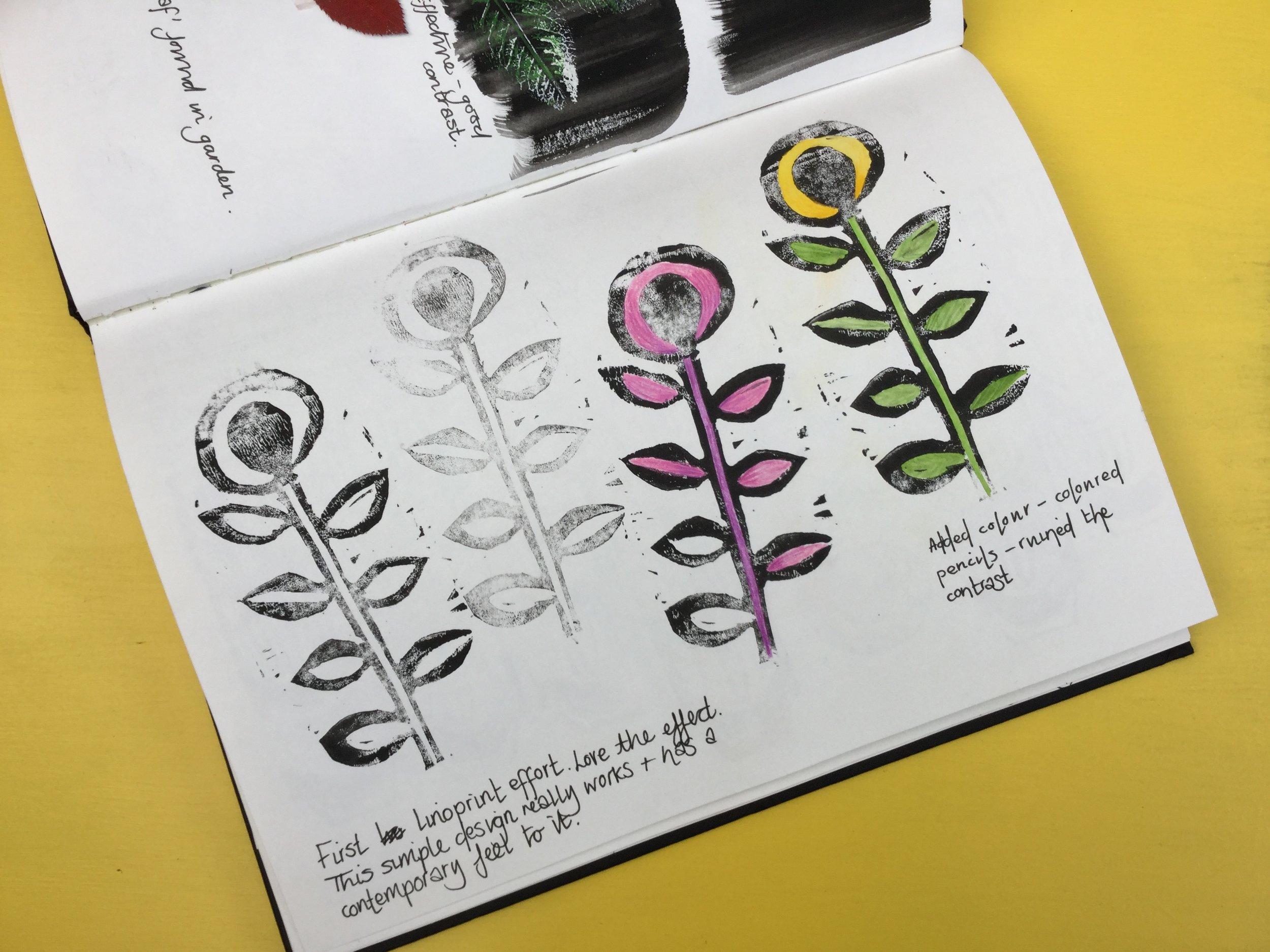 linocut sunflower.  Briony Dixon sketchbook