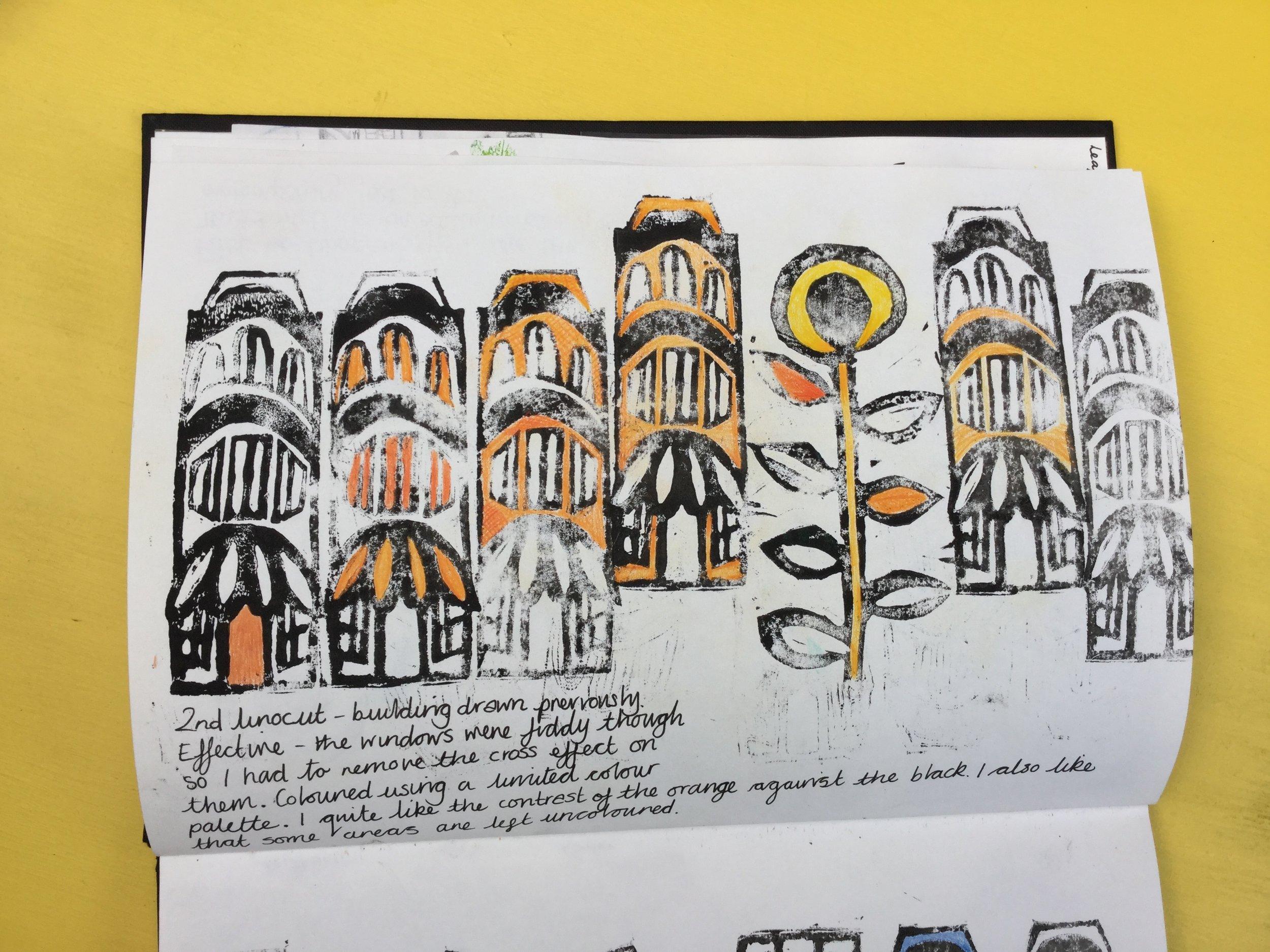 Lino cut buildings.  Briony Dixon sketchbook.