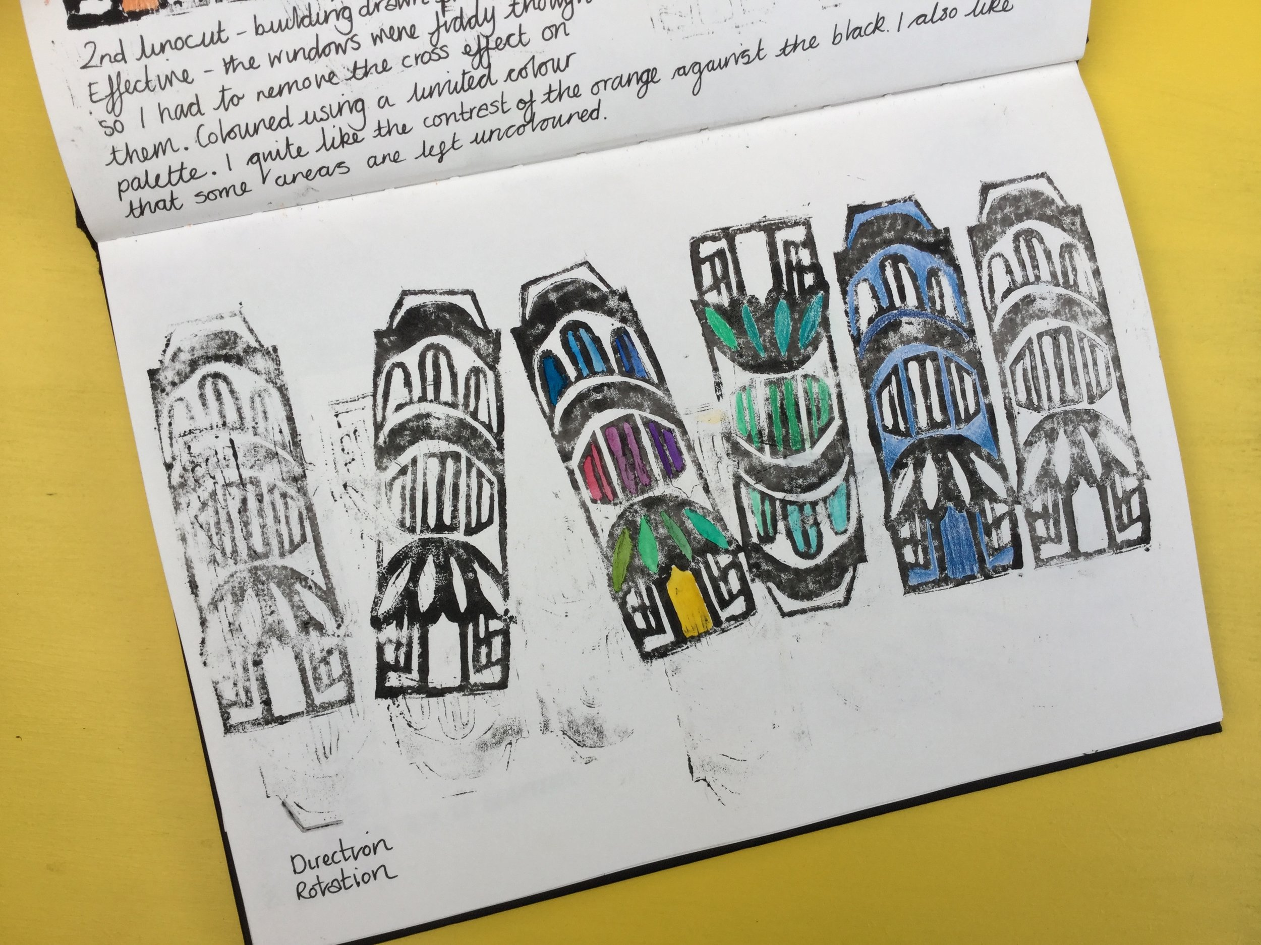 I like the idea of a house upside down. My use of coloured pencil to add colour wasn't successful here because there isn't enough contrast with the black. It also isn't in keeping with Bawden's style who used a limited colour palette and often stuck to the primary colours plus green.