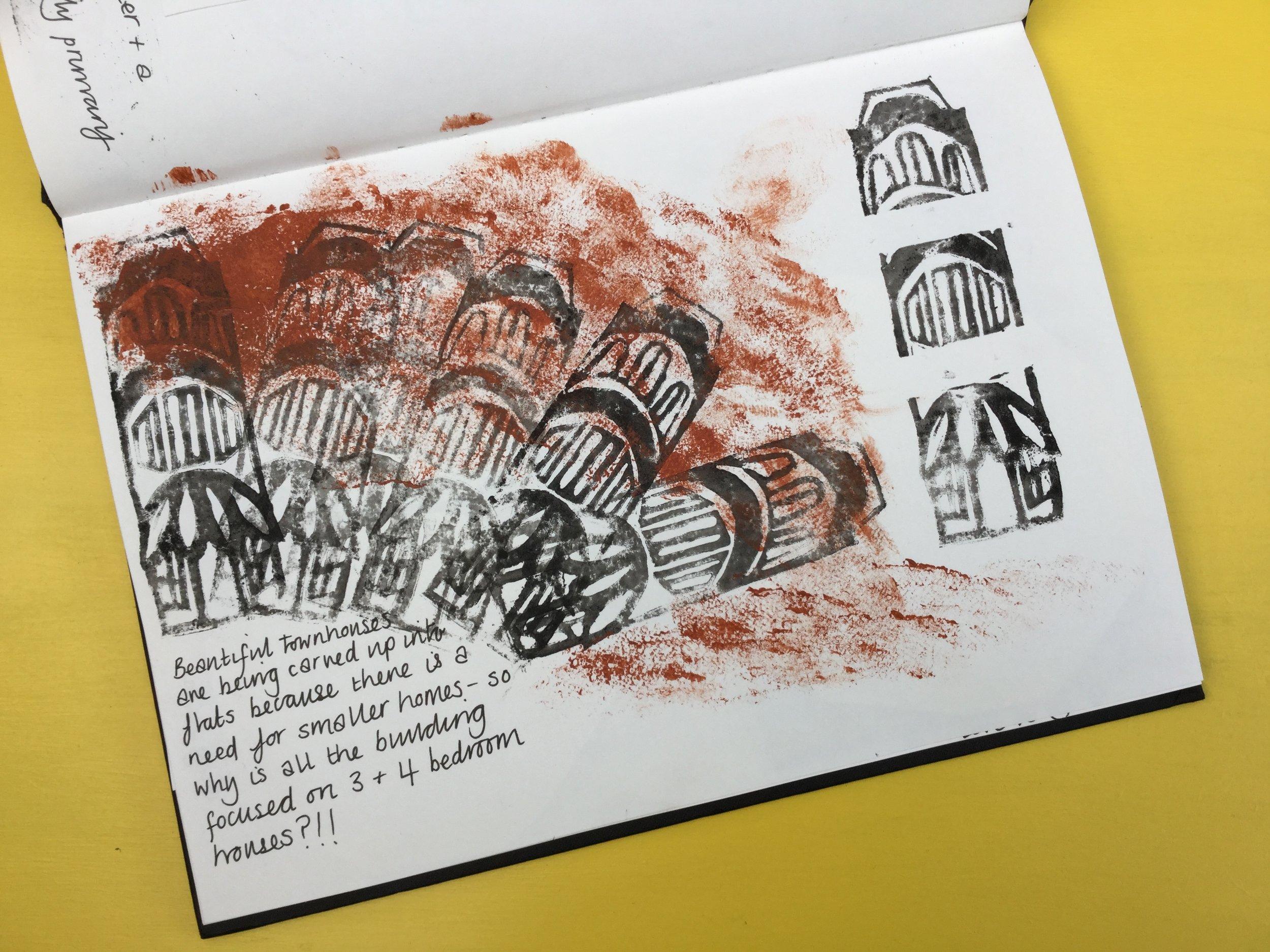 Linocut buildings Briony Dixon sketchbook