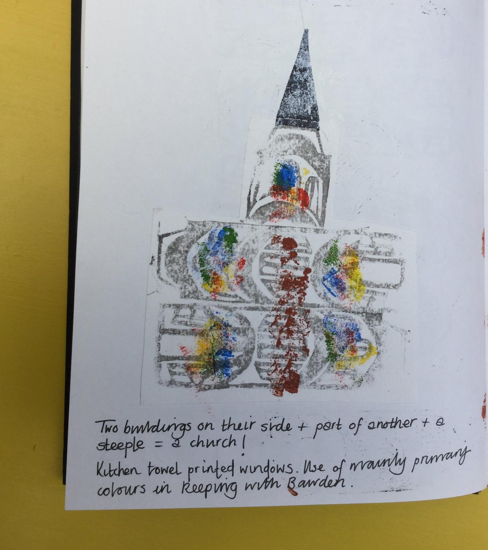 Linocut church.  Briony Dixon sketchbook.