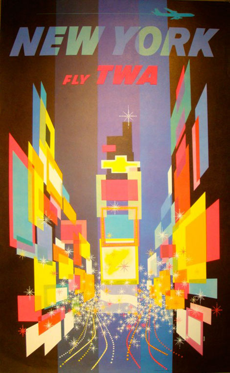 Poster for TWA created by David Klein - Use of bright colours and geometric shapes give this a look that could be classed as contemporary now.