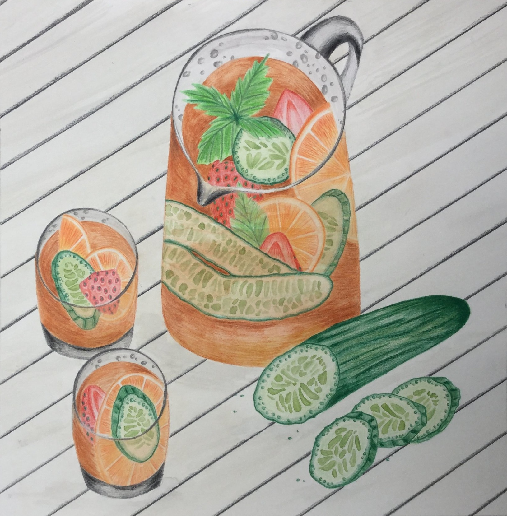 Jug of Pimms illustration by Briony Dixon
