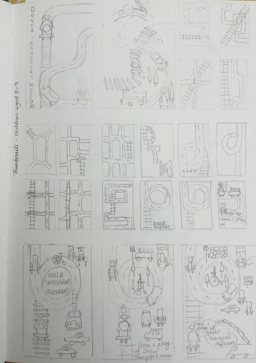 Thumbnails for initial ideas