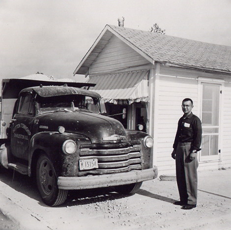 Martin Tarble in front of the original scalehouse circa 1954.