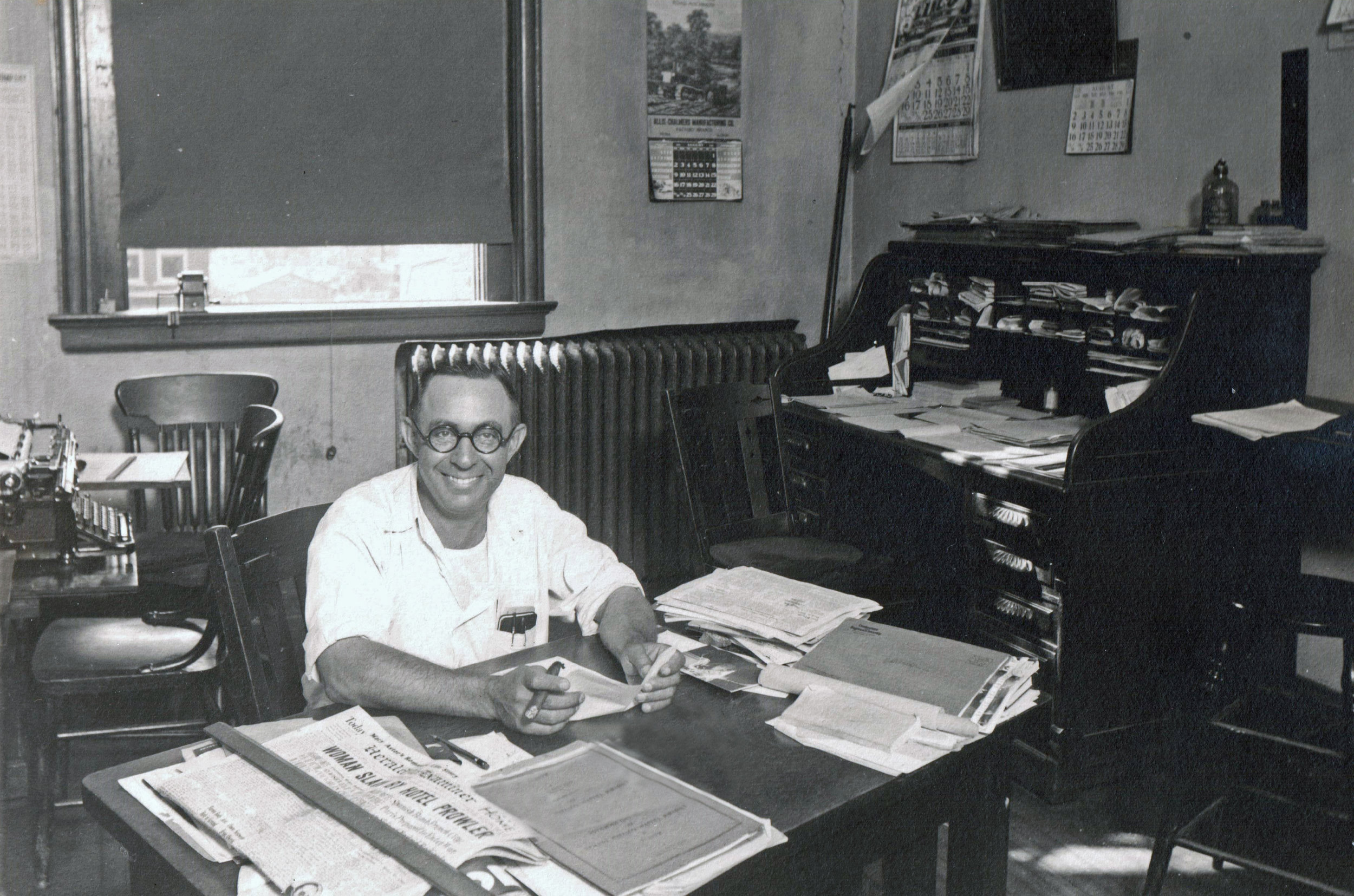 Van Tarble at his office in the Clark County courthouse in 1934.