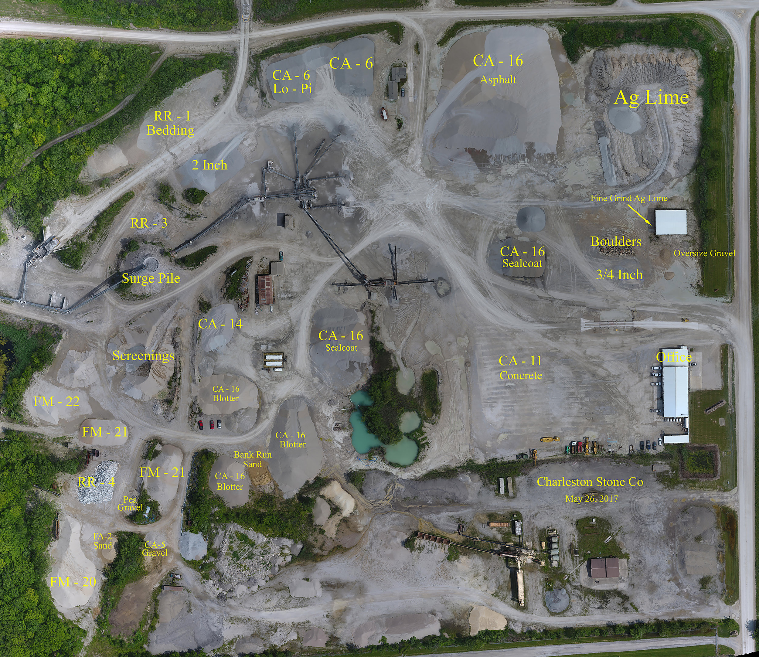 Overview map of plant and stockpile area with stock locations.