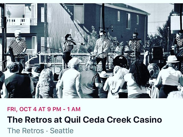 You're invited to join us at The Quilceda Creek Casino this FRIDAY NIGHT! October 4th! No cover! Free parking! Always a great time at the QCC! #QCC #quilcedacreekcasino #theretrosband #newwave #seattle #theretros #seattlesbest #80s #80smusic #80snewwave #80sfashion #madonna #danceparty #fun #vancouver #livemusic #portland #sunglassesatnight  #walklikeanegyptian #videokilledtheradiostar #vogue #rickrolled #youspinme #deadoralive #seattlelivemusic #seattlemusic #tacomamusic #portlandmusic #lovetheretros