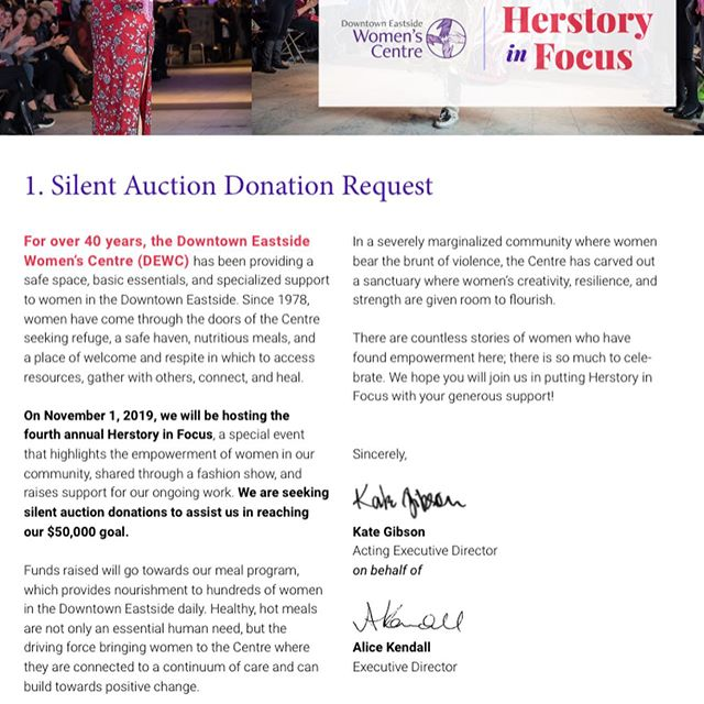 @dewcvan is looking for donations for our silent auction for our Herstory fundraising event!  If you or your business would like to make a donation feel free to contact myself or Justine (her email is in the information in the photos.) Every little bit helps us fund our 'Health through nutrition ' food program which provides 400 meals DAILY to women in the downtown Eastside.  If you are looking to volunteer your time please let us know also, we can always use a helping hand!  #yvr #dtes #yvrfood #nutrition #fundraiser #feminism #foodaccess #donationsneeded #supportwomen