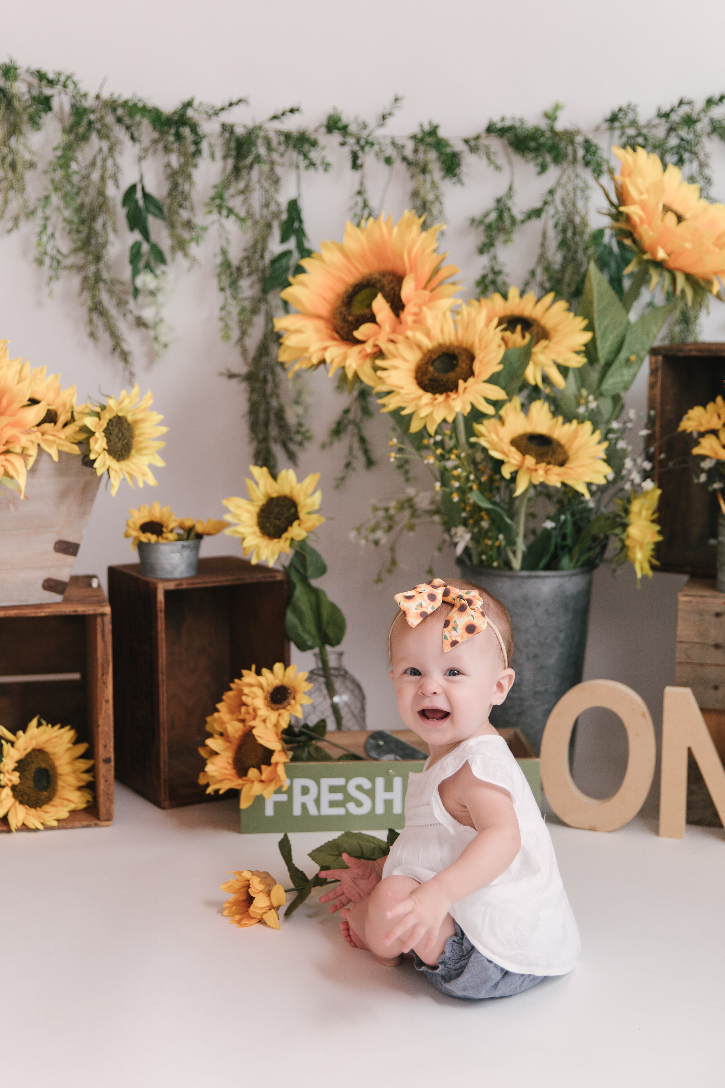 Sunflower_Themed_First_Birthday_Studio_Session_Smash_Session_Little_Girl_Turns_One_Ombre Smash_Cake_with_Christie_Leigh_Photo_Cortland_Ohio-1.JPG