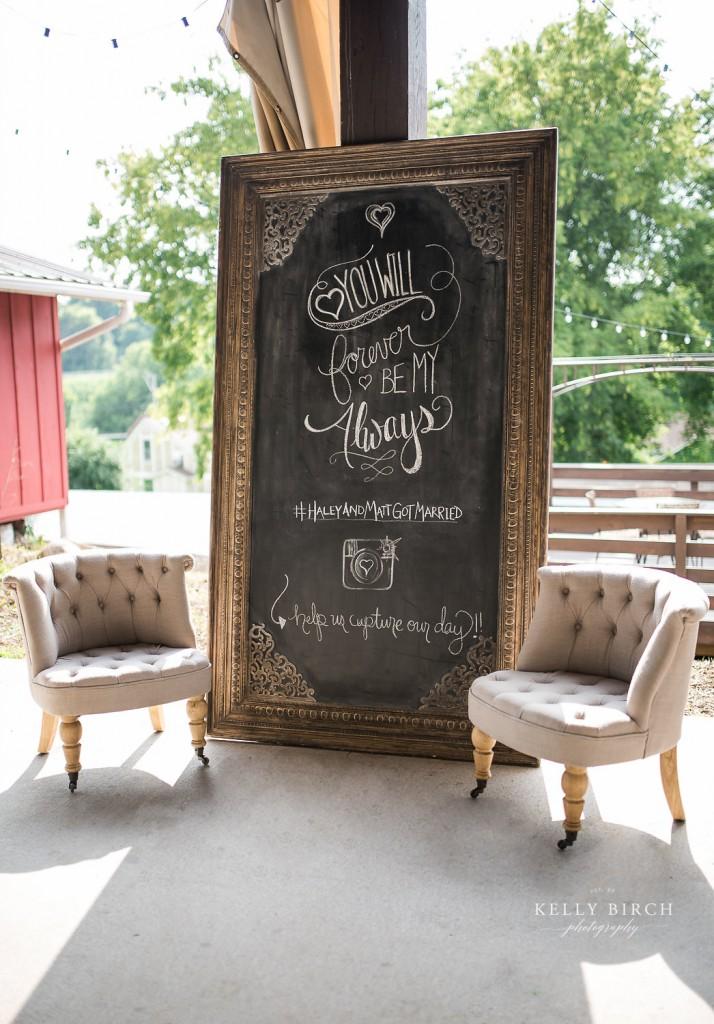 custom chalkboard sign and vintage furniture for cocktail reception Historic Hope Glen Farm