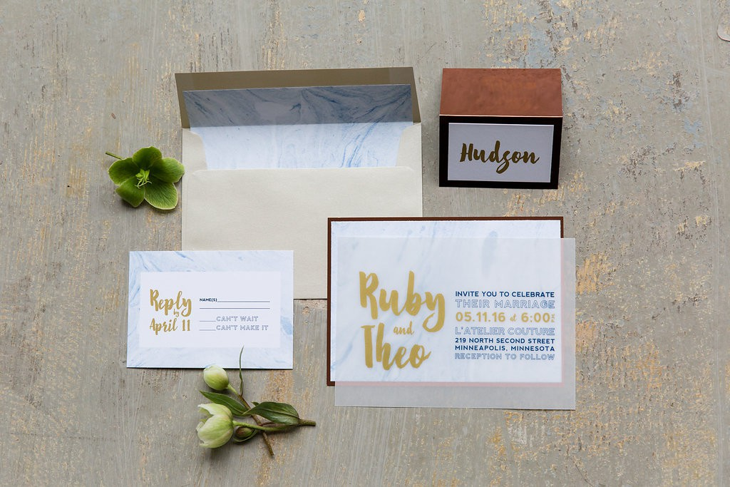 Modern Invitation suite, as seen in Dainty Obsessions.