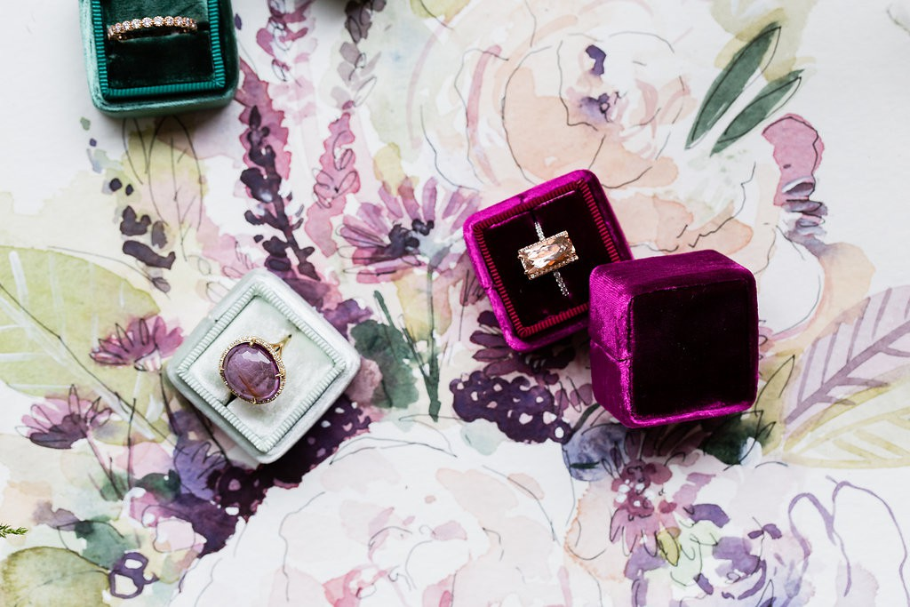 The Mrs. Box and gemstone rings